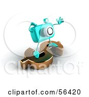Royalty Free RF Clipart Illustration Of A 3d Turquoise Camera Boy Character Standing On A Gold Dollar Symbol Version 2