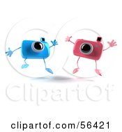 Royalty Free RF Clipart Illustration Of Two 3d Pink And Blue Camera Boy And Girl Characters Jumping Version 1 by Julos