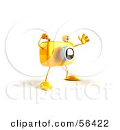 Royalty Free RF Clipart Illustration Of A 3d Yellow Camera Boy Character Waving Version 3 by Julos