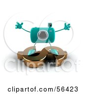 Royalty Free RF Clipart Illustration Of A 3d Turquoise Camera Boy Character Standing On A Gold Dollar Symbol Version 3