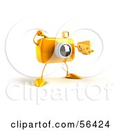 Royalty Free RF Clipart Illustration Of A 3d Yellow Camera Boy Character Holding A Wedge Of Cheese Version 7 by Julos