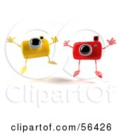 Royalty Free RF Clipart Illustration Of Two 3d Yellow And Red Camera Boy Characters Jumping Version 2 by Julos