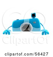 Royalty Free RF Clipart Illustration Of A 3d Blue Camera Boy Character Standing Behind A Blank Sign by Julos