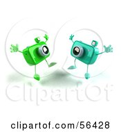 Royalty Free RF Clipart Illustration Of Two 3d Green Camera Boy Characters Jumping Version 3 by Julos