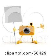 Royalty Free RF Clipart Illustration Of A 3d Yellow Camera Boy Character Holding Up A Blank Sign Version 2 by Julos