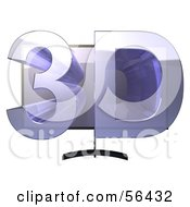 Royalty Free RF Clipart Illustration Of A Flat Screen Plasma Television With 3d Emerging From The Screen Version 1 by Julos
