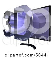Royalty Free RF Clipart Illustration Of A Flat Screen Plasma Television With 3d Emerging From The Screen Version 2