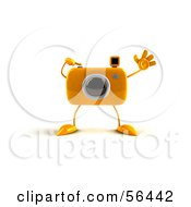 Royalty Free RF Clipart Illustration Of A 3d Yellow Camera Boy Character Waving Version 1 by Julos