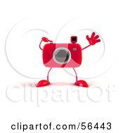 Royalty Free RF Clipart Illustration Of A 3d Red Camera Boy Character Waving Version 1 by Julos