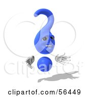 Royalty Free RF Clipart Illustration Of A 3d Blue Question Mark Character Pose 6 by Julos