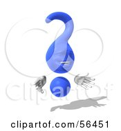 Royalty Free RF Clipart Illustration Of A 3d Blue Question Mark Character Pose 7 by Julos