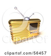 Royalty Free RF Clipart Illustration Of A 3d Gold Retro Metal Radio Version 7