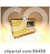 Royalty Free RF Clipart Illustration Of A 3d Gold Retro Metal Radio Version 3