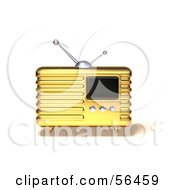 Royalty Free RF Clipart Illustration Of A 3d Gold Retro Metal Radio Version 5 by Julos