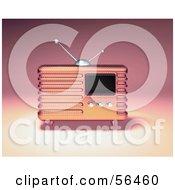 Royalty Free RF Clipart Illustration Of A 3d Pink Retro Metal Radio Version 1