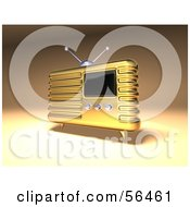 Royalty Free RF Clipart Illustration Of A 3d Gold Retro Metal Radio Version 2