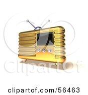 Royalty Free RF Clipart Illustration Of A 3d Gold Retro Metal Radio Version 6