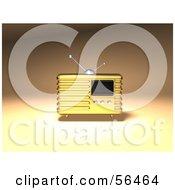 Royalty Free RF Clipart Illustration Of A 3d Gold Retro Metal Radio Version 1