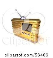 Royalty Free RF Clipart Illustration Of A 3d Gold Retro Metal Radio Version 8