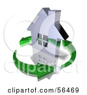 3d Chrome Home Being Circled By Green Arrows Version 10 by Julos