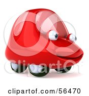 Royalty Free RF Clipart Illustration Of A 3d Red Car Character Facing Right And Smiling Version 1 by Julos