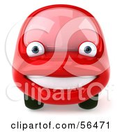 Royalty Free RF Clipart Illustration Of A 3d Red Car Character Facing Front And Smiling
