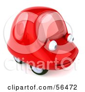 Royalty Free RF Clipart Illustration Of A 3d Red Car Character Facing Right And Smiling Version 2 by Julos