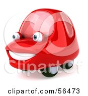 Royalty Free RF Clipart Illustration Of A 3d Red Car Character Facing Left And Smiling Version 2 by Julos