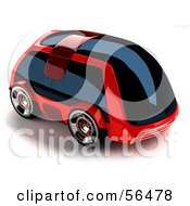 Royalty Free RF Clipart Illustration Of A 3d Futuristic Red Car With Tinted Windows Version 1