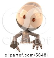 3d Robie Robot Character Pointing Down And Standing Behind A Blank Sign by Julos