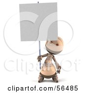 3d Robie Robot Character Holding Up A Blank Sign Version 1 by Julos
