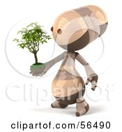 3d Robie Robot Character Holding A Plant Version 1 by Julos