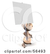 3d Robie Robot Character Holding Up A Blank Sign Version 2 by Julos