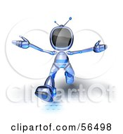 Royalty Free RF Clipart Illustration Of A 3d Tele Robot Character Running Forward Version 4 by Julos
