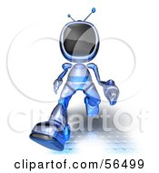 Royalty Free RF Clipart Illustration Of A 3d Tele Robot Character Running Forward Version 3 by Julos