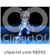 Royalty Free RF Clipart Illustration Of A 3d Tele Robot Character Running Forward Version 1 by Julos