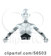 Royalty Free RF Clipart Illustration Of A 3d Femme Robot Character Standing Behind A Blank Sign by Julos