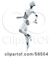 Royalty Free RF Clipart Illustration Of A 3d Femme Robot Character Dancing Version 4 by Julos
