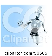 Royalty Free RF Clipart Illustration Of A 3d Femme Robot Character Reaching Outward Version 2 by Julos