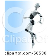 Royalty Free RF Clipart Illustration Of A 3d Femme Robot Character Dancing Version 2 by Julos