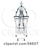 Royalty Free RF Clipart Illustration Of A 3d Femme Robot Character Pushing A Shopping Cart Version 1 by Julos