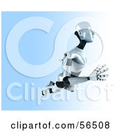 Royalty Free RF Clipart Illustration Of A 3d Femme Robot Character Floating To The Right Version 2 by Julos