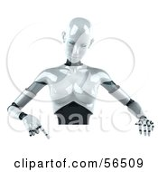 Royalty Free RF Clipart Illustration Of A 3d Femme Robot Character Pointing Down And Standing Behind A Blank Sign by Julos