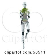 Royalty Free RF Clipart Illustration Of A 3d Femme Robot Character Carrying A Plant Version 2 by Julos