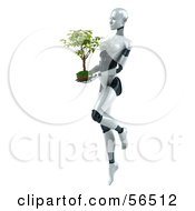 Royalty Free RF Clipart Illustration Of A 3d Femme Robot Character Carrying A Plant Version 1 by Julos