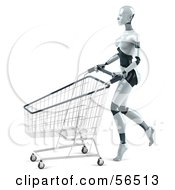 Royalty Free RF Clipart Illustration Of A 3d Femme Robot Character Pushing A Shopping Cart Version 2 by Julos