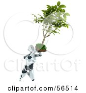 Royalty Free RF Clipart Illustration Of A 3d Femme Robot Character Flying With A Plant Over Her Head by Julos
