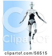 Royalty Free RF Clipart Illustration Of A 3d Femme Robot Character Dancing Version 1 by Julos