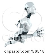 Royalty Free RF Clipart Illustration Of A 3d Femme Robot Character Floating To The Right Version 1 by Julos
