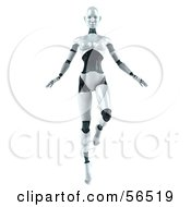 Royalty Free RF Clipart Illustration Of A 3d Femme Robot Character Dancing Version 3 by Julos